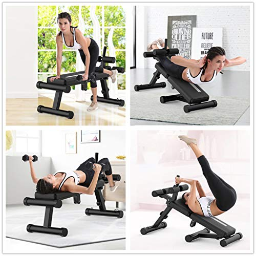 Multi-Workout Bench, Adjustable Sit-up Bench, Abdominal Strength Training Exercise Bench, Slant Board Folding Back Extension Bench for Whole Body (from US. 440Lbs, 30.8 x 28 x 10.8in-56 x 34 x 12in)