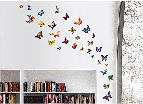 ufengke® 81 Pz Farfalle Danzanti Colorate Adesivi Murali, Camera da Letto Soggiorno Adesivi da Parete Removibili/Stickers Murali/Decorazione Murale