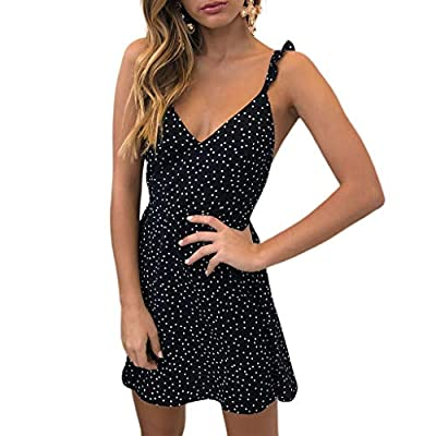 W-Fight Women Summer Sexy Deep V-Neck Mini A-Line Dress Sleeveless Ruffled Strap Casual Beach Sundress