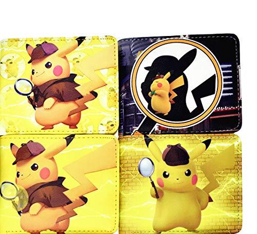 FENGHE Pokemon 4 Stück / Los Neuankömmling Pokemon Detective Wallet Anime Cartoon Kurze Geldbörse Mit Münztasche