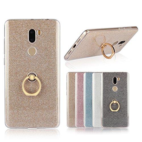 Sunrive Custodia per Xiaomi Mi5S Plus, Trasparente Custodia Cover TPU con 360 Gradi di Rotazione dell'anello Cavalletto + Carta Ultra Sottile Glitter Sparkle Bling Bling(d'oro)