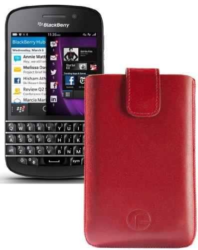 Original Favory ® Etui Tasche für / BlackBerry Q5 / Leder Etui Handytasche Ledertasche Schutzhülle Hülle Hülle *Lasche mit Rückzugfunktion* In Rot