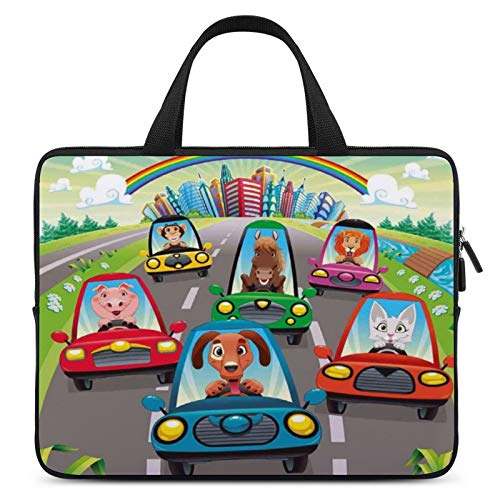Universal Laptop Sleeve Bag,MacBook Protective Case,Notebook Computer Carrying Bag,17inch,for Apple/MacBook/HP/Acer/Asus/Dell/Lenovo/Samsung,Color for Kids Toddlers Room Decor,Colorful Funny Animals i