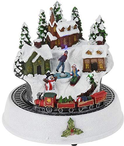 CHICCIE Village de Noël LED avec Train 23 cm