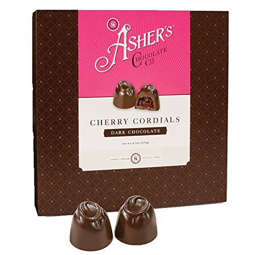 Asher's Chocolate, Chocolate Covered Cherry Cordials, Candied Cherries, Small Batches of Kosher Chocolate, Family Owned Since 1892 (6.1 ounce, Dark Chocolate)