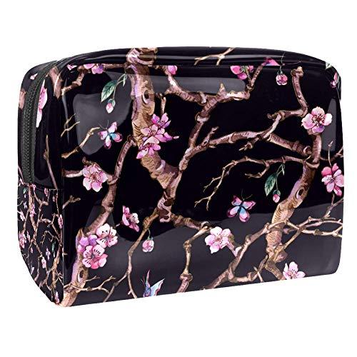 Trousse de toilette multifonction pour femme - Style vintage - Fleurs Sakura - Rose