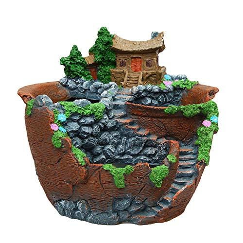 Resin Flower Pot, Mini House Figurines Resin Flower Pot, Herb Cacti Succulent Plants Planter Home Garden Micro- Landscape Decor Crafts