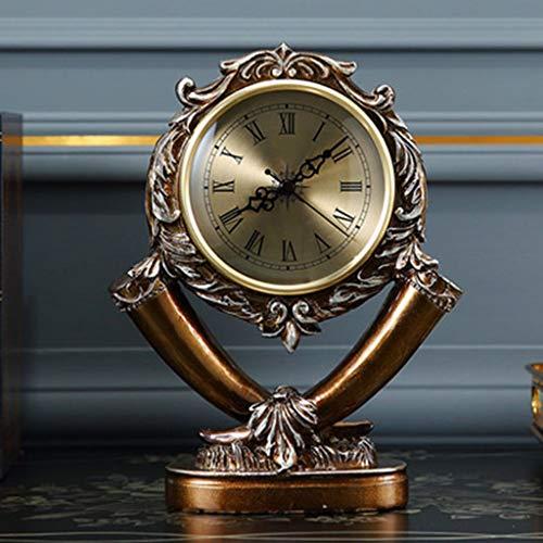 SCDZS Reloj de Mesa Sala de Estar Retro Escritorio Reloj Decoración para el hogar American Mute Desk Watch Resin Desktop Clock Desktop Decoration (Color : C)