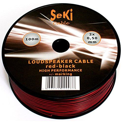 Cable de altavoz 2 x 0,50 mm², 100 m, rojo y negro, CCA, cable de audio