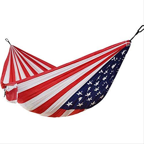 Hangmat MYKK Outdoor Camping Hangmat 1-2 personen Amerikaanse vlag afdrukken Parachute-stof Slaapbed Hangmat Onafhankelijkheidsdagcadeau 270 * 140cm Zoals afgebeeld