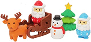 GHTERT 30 Pcs Christmas Non-Toxic Cartoon Pencil Eraser,Santa & Sleigh & Snowman & Christmas Tree & Deer Christmas Puzzle Eraser Creative Stationery Games Prizes for Kids