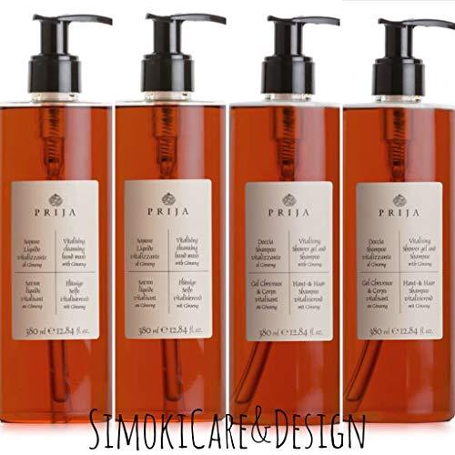Prija Set mit 2x Hair & Body/Duschgel & Haarshampoo + 2x Flüssigseife Seife Soap + 4x Pumpspender
