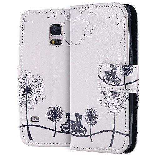 ECENCE Handyhülle Schutzhülle Case Cover kompatibel für Samsung Galaxy S5 Mini Handytasche Pusteblume + Fahrrad 31030108