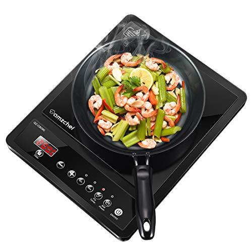 Induktionskochfeld, Amzchef Single Induction Kochplatte, 2000W einzeln Induktionsplatte mit 9 Temperaturstufen & Leistung, Sensor-Touch-Steuerung, Timer,und Sicherheitsschloss (41.5 x 31.4 x 9.5 cm)
