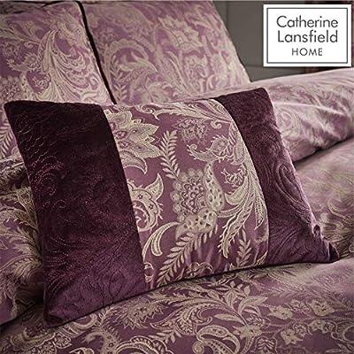 Catherine Lansfield Regal Jacquard Filled Cushion Plum, 30x40cm