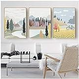 Carteles de arte rural nórdico pinturas al óleo, pinturas en lienzo adecuadas para la decoración de la pared de la sala de estar y el dormitorio-50x70x3Pcscm Sin marco