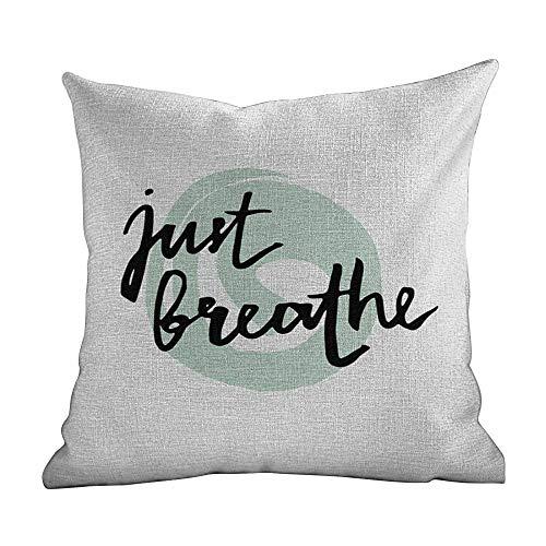 Matt Flowe Standard Pillow Cases Just Breathe,Inspirational Positive Saying with Modern Brush Calligraphy Art,Mint Green Black White,Decorative Home Zippered Custom Throw Pillow 18'x18'inch