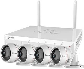 EZVIZ Outdoor Surveillance System 1080p Weatherproof Wi-Fi 2.4G Only 4 Security Cameras Strobe Light&Siren Night Vision DC Power Two Way Audio 4 Channel 1TB NVR X5C-4(4CH+4 Cam)