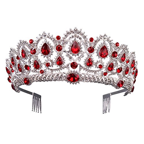 Gorgeous Silver Queen Crystal Crown Headband Rhinestone Wedding Princess Tiara Bridal Party Birthday Pageant Headpieces (Red)