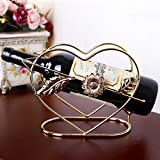Botellero de Vino, 1 unid artesanías de hierro creativo con forma de corazón con forma de vino al por mayor de vino en forma de hogar adornos de mesa de muebles (Color : Bronze)
