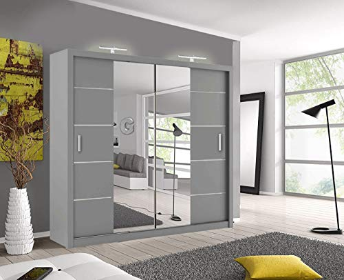 Oslo Modern Mirror sliding door wardrobe with LED Light Width 150cm/180cm/203cm (Grey, 203cm)