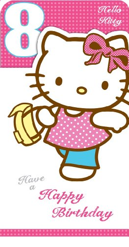 Hello Kitty Age 8Geburtstagskarte