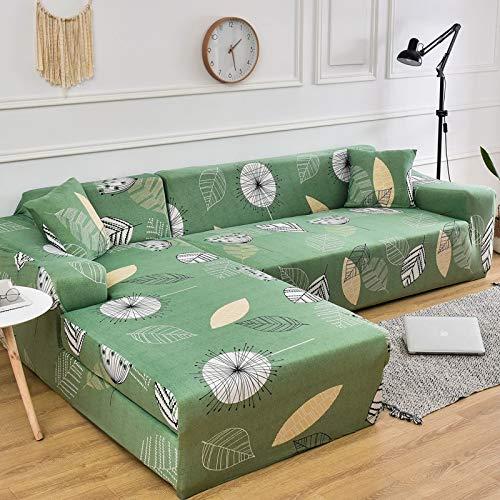 Fundas de sofá elásticas Impresas para Sala de Estar Funda de sofá de Esquina en Forma de L Chaise Longue Sillón Sofá Funda A10 2 plazas