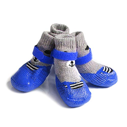 Xiluck huisdier kat sokken hond sokken, 4 stks zacht katoen huisdier katten honden sokken met rubber anti-slip hond kat poot beschermers voor binnen dragen, L, Blauw
