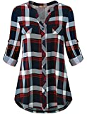 Miusey Contemporary Clothing for Women,Ladies Designer Fashion V Neck Knit Tees Petite Button Down Tunic Top Long Sleeve Blouse Blue Red M