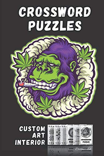 Crossword Puzzles With Marijuana Weed Art Interior: Professional Designed Cannabis Look. Fun, Easy to Hard Words for ALL AGES. Monkey Gorilla.