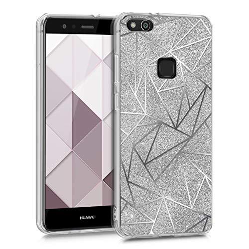 kwmobile Custodia Compatibile con Huawei P10 Lite - Cover in Silicone TPU Trasparente - Back Case Geometrie Brillanti Argento