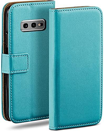 moex Klapphülle kompatibel mit Samsung Galaxy S10e Hülle klappbar, Handyhülle mit Kartenfach, 360 Grad Flip Hülle, Vegan Leder Handytasche, Türkis