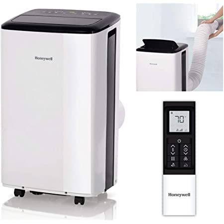 Honeywell Compact Portable Air Conditioner with Dehumidifier & Fan, Cools Rooms Up To 450 Sq. Ft, Includes Drain Pan & Insulation Tape (White), HF0CESWK6