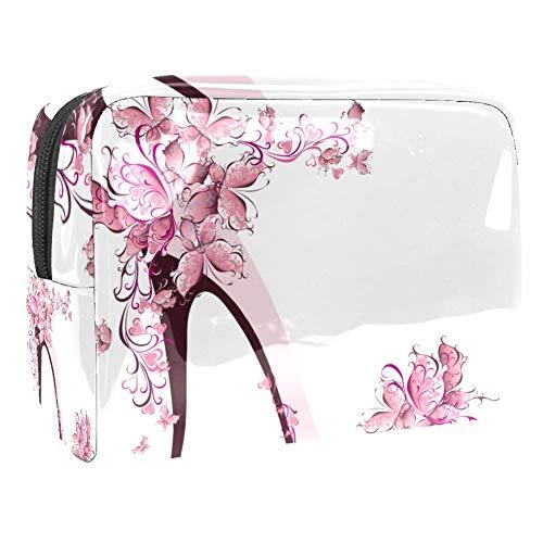 Bolsa de maquillaje portátil con cremallera bolsa de aseo de viaje para mujeres práctico almacenamiento cosmético bolsa zapatos en un tacón alto