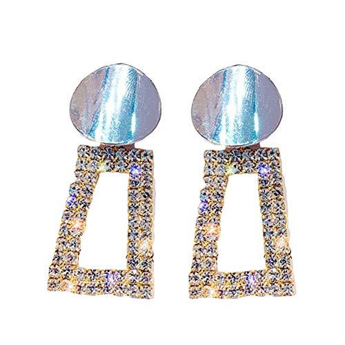 WFZ17 Pendientes redondos de trapecio con incrustaciones de diamantes de imitación geométricos para mujeres y niñas, color dorado