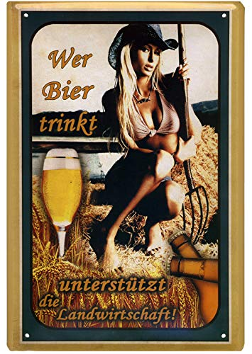Geschenkeparadies 24 Blechschild 20x30cm Wer Bier trinkt unterstützt die Landwirtschaft