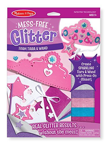 Melissa & Doug Mess Free Glitter -Foam Tiara and Wand, Multi Color