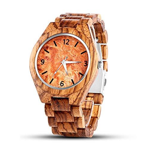 Reloj de Pulsera para Hombres, Mecanismo de Cuarzo, Reloj de Madera, Calendario Fecha, Madera Natural marrón