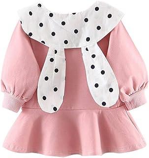 Christmas Merry Wishes 2020 New Girls Princess Dress for Toddler Baby Girls Long Sleeve Ruffles Dot Print Rabbit Ear Dress...