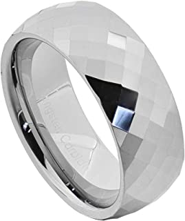 8mm Diamond Faceted Shiny Tungsten Band Jewelry Men's Wedding Ring