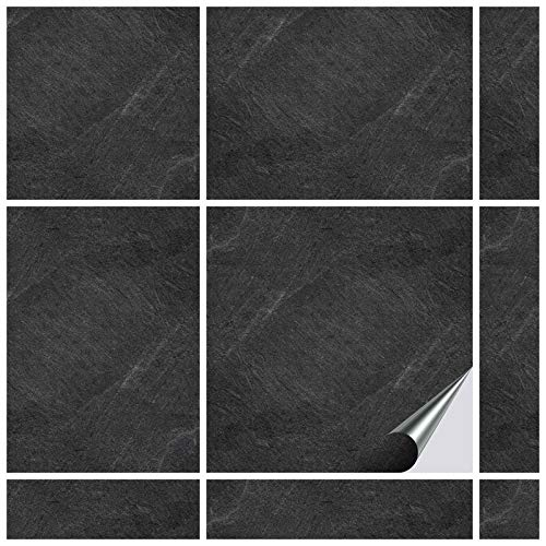 FoLIESEN Fliesenaufkleber Küche u. Bad-15x15 cm Slate-20, Spezial-PVC-Folie, Dekor Black Slate, 20 Stück