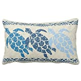 UOOPOO Honu Sea Turtle Hawaiian Reversible Batik - Indigo Throw Pillow Case Square 16 x 24 Inches Soft Cotton Canvas Home Decorative Wedding Cushion Cover for Sofa and Bed Print On One Side