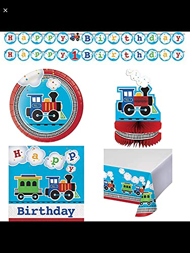 All Aboard! Train Themed Happy Birthday Party Supplies 16 Cake Plates, 16 Lunch Napkins, Banner, Table Cover, Centerpiece, Grandma Olive's Recipe
