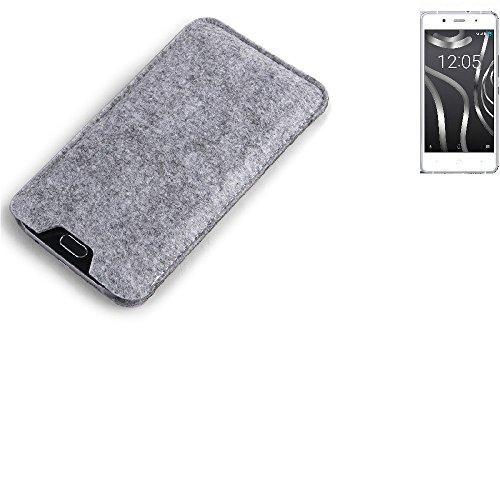 K-S-Trade Filz Schutz Hülle für BQ Readers Aquaris X5 Plus Schutzhülle Filztasche Filz Tasche Case Sleeve Handyhülle Filzhülle grau