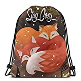 Yuanmeiju Stay Cozy Shoulder Bolsa con cordón Backpack String Bags School Rucksack Gym Sport Bag Lightweight