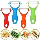 BETOY Pelador de Cerámica, Pelar de Frutas y Verduras, Prevención de óxido-Set 4pcs, 13 * 6,5cm