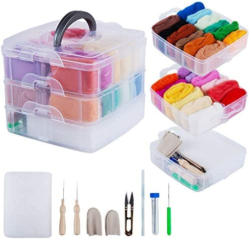 Needle Felting Kit for Beginners 24 Color Wool Roving for Needle Felting with Felting Supplies product image