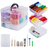 Needle Felting Kit for Beginners, 24-Color Wool Roving for Needle Felting with Felting Supplies, Tools, and Storage Box