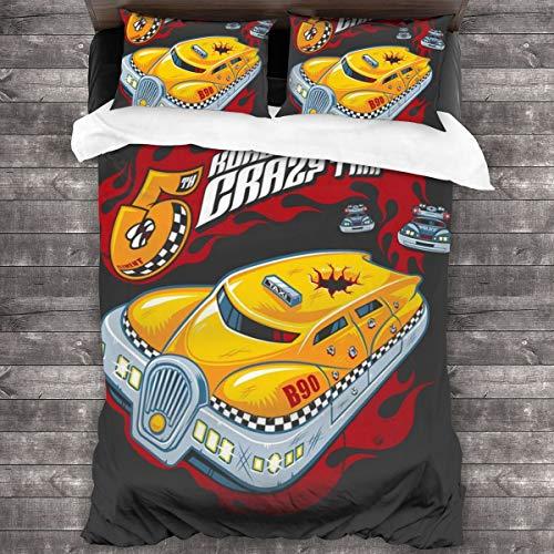KUKHKU Korbens Crazy Taxi Quinto Elemento Juego de cama de 3 piezas, funda de edredón de 86 x 70 pulgadas, Queen decorativa de 3 piezas con 2 fundas de almohada