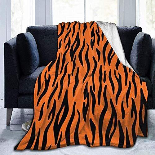 DWgatan Couverture,Couvre-lit de canapé Polyvalent Doux et Chaud de qualité Tiger Stripes Orange Pattern Printed Blanket for Bedroom Living Room Couch Bed Sofa -50\